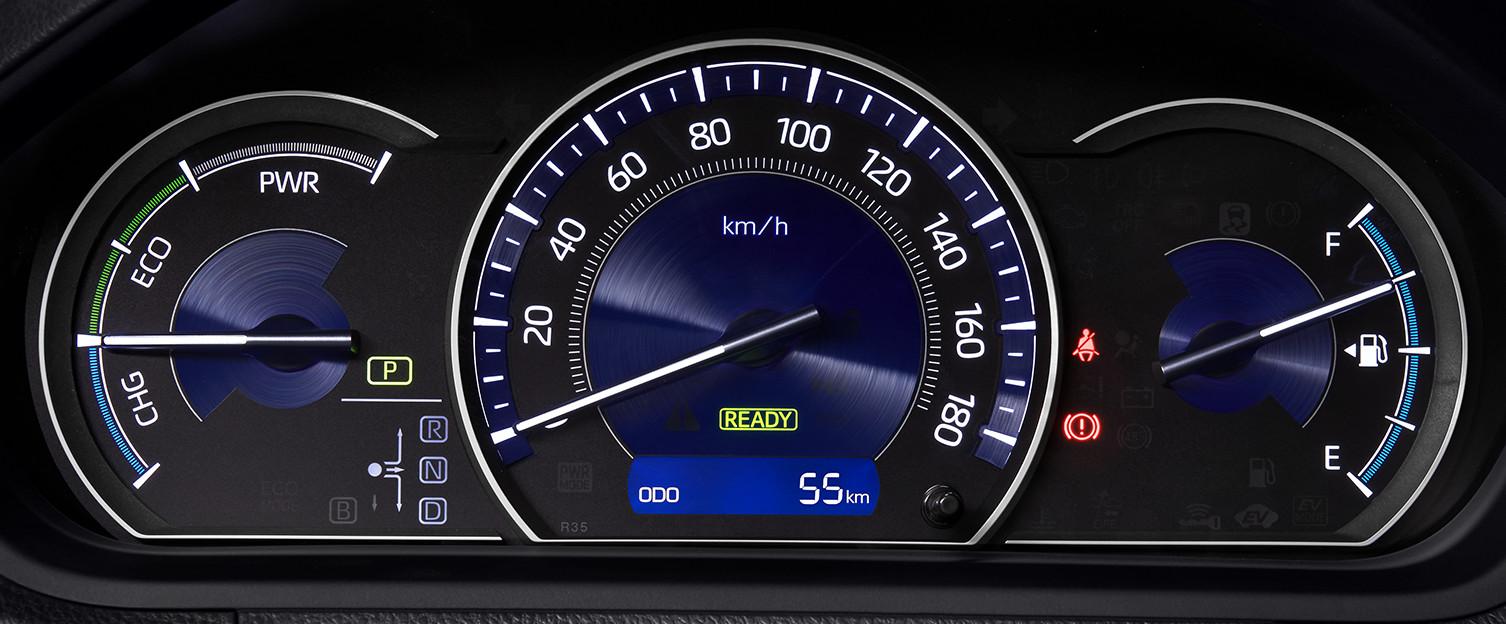 エスクァイア、ハイブリッドとガソリンの比較、ハイブリッド車オプティトロンメーター