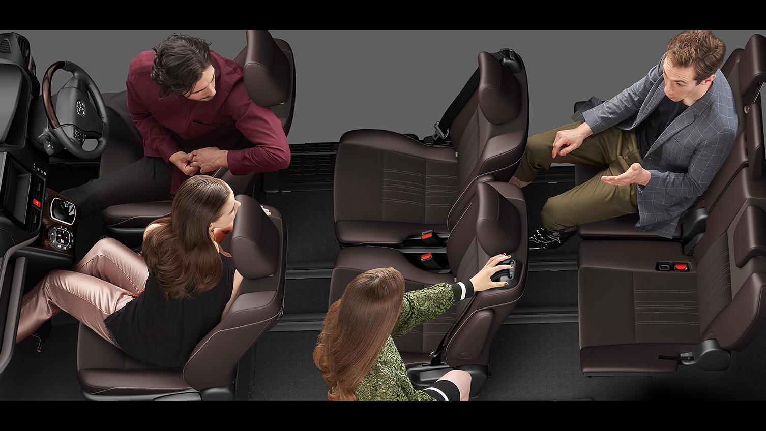 エスクァイア、7人乗り8人乗り比較、フリーアクセスモード