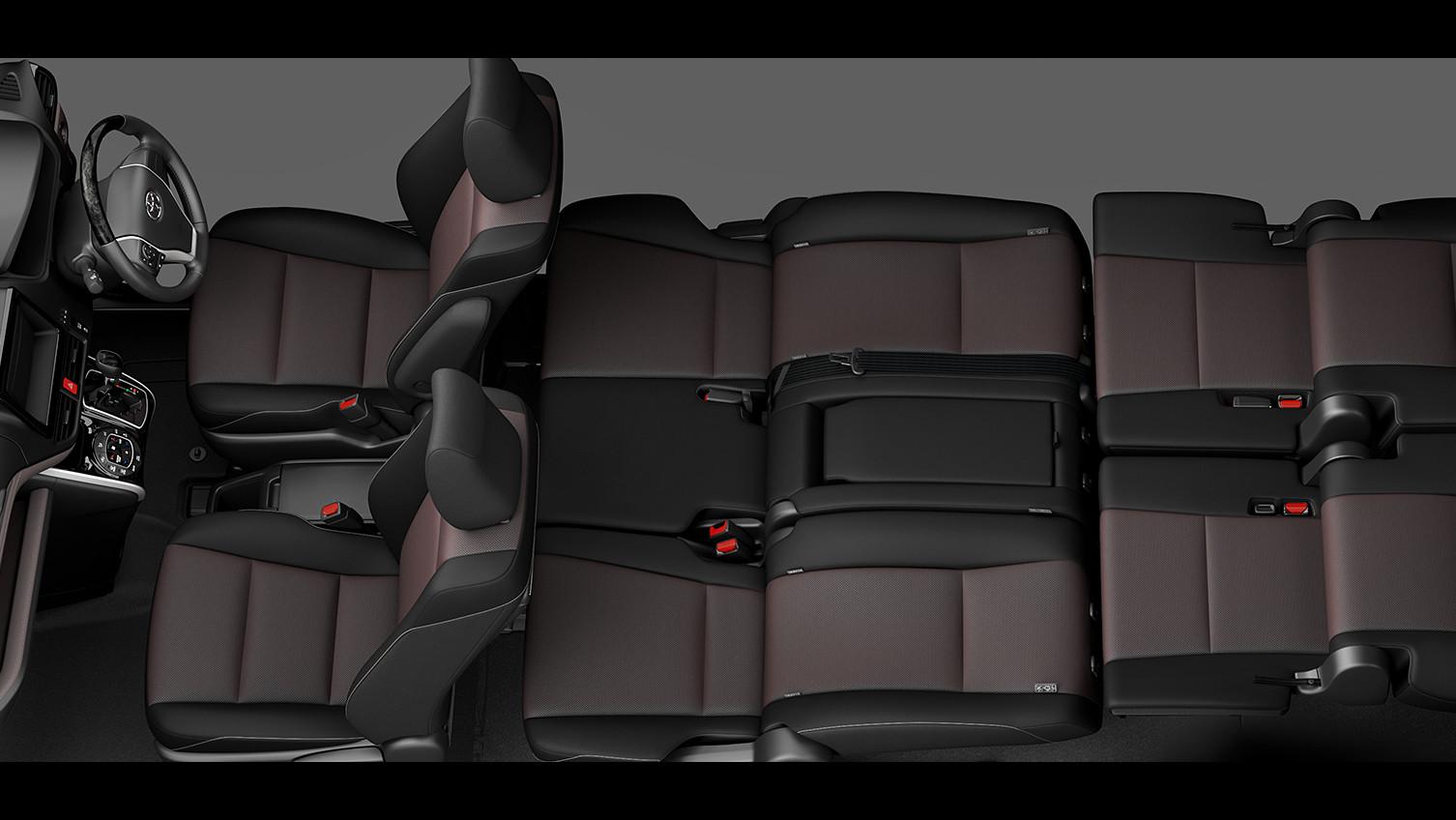 エスクァイア、7人乗り8人乗り比較、8人乗りリアフラットソファモード